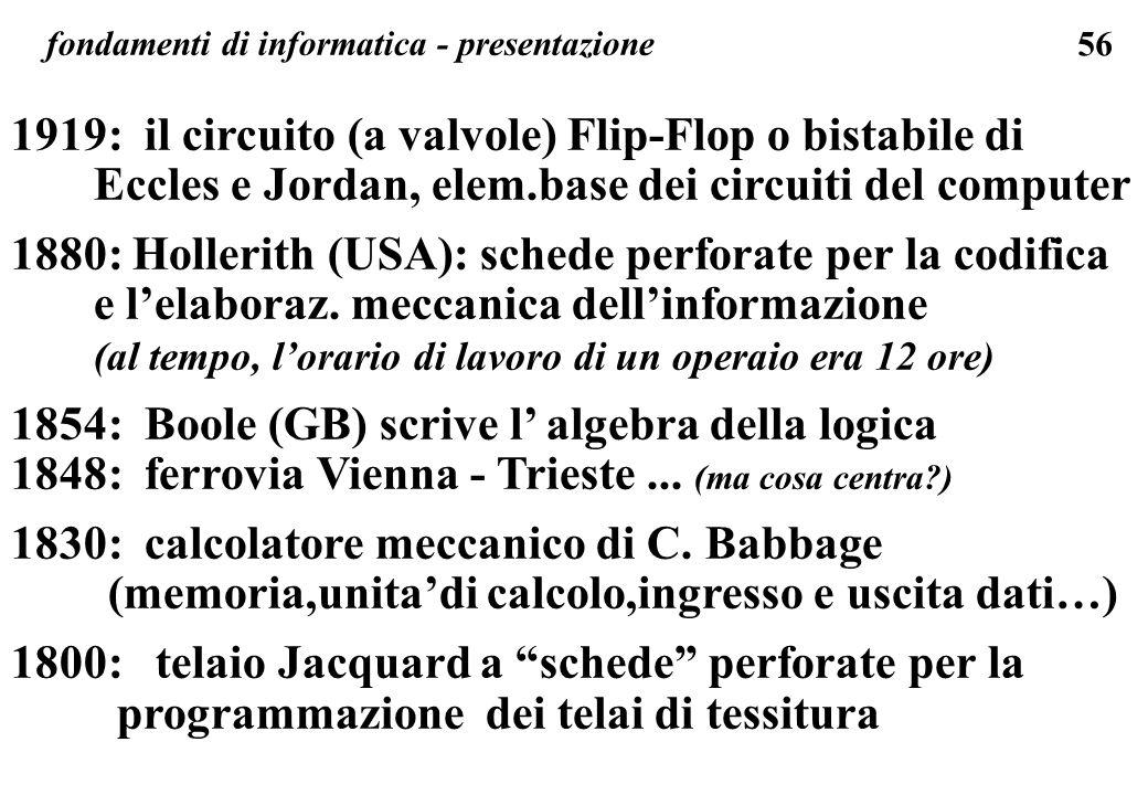 56 fondamenti di informatica - presentazione 1919: il circuito (a valvole) Flip-Flop o bistabile di Eccles e Jordan, elem.base dei circuiti del comput