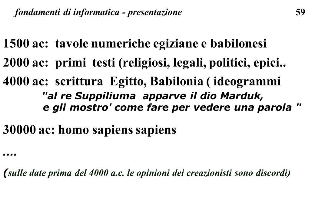 59 fondamenti di informatica - presentazione 1500 ac: tavole numeriche egiziane e babilonesi 2000 ac: primi testi (religiosi, legali, politici, epici.