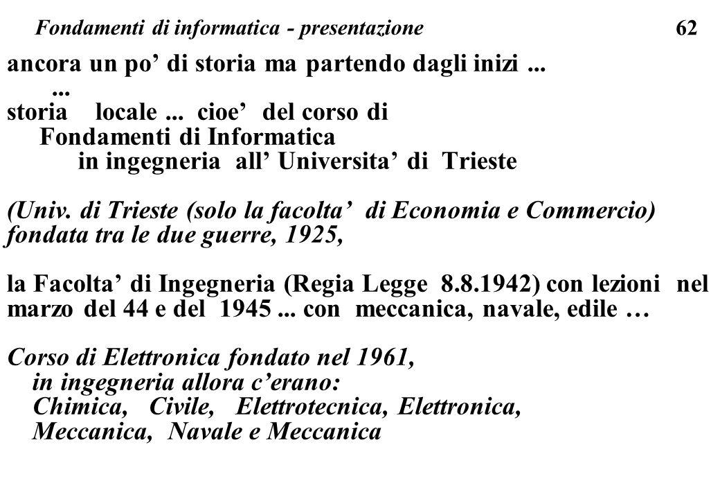 62 ancora un po di storia ma partendo dagli inizi...... storia locale... cioe del corso di Fondamenti di Informatica in ingegneria all Universita di T