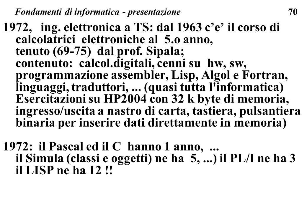 70 1972, ing. elettronica a TS: dal 1963 ce il corso di calcolatrici elettroniche al 5.o anno, tenuto (69-75) dal prof. Sipala; contenuto: calcol.digi