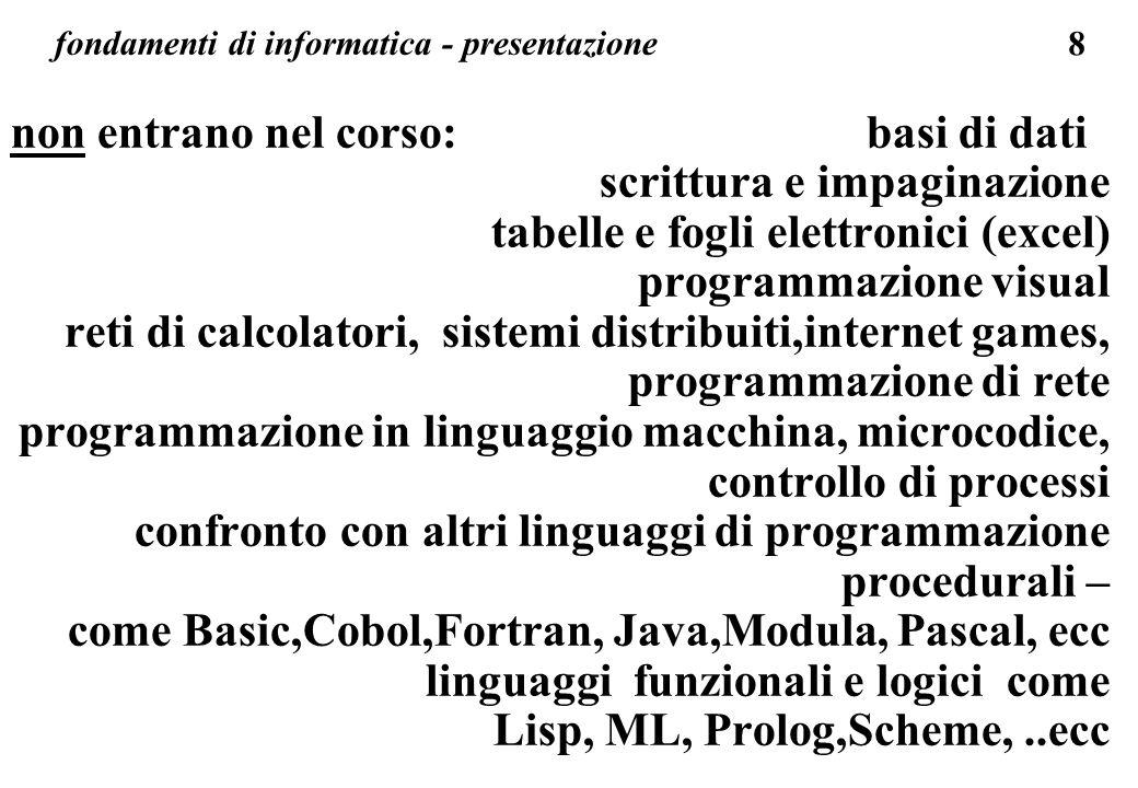 8 fondamenti di informatica - presentazione non entrano nel corso: basi di dati scrittura e impaginazione tabelle e fogli elettronici (excel) programm
