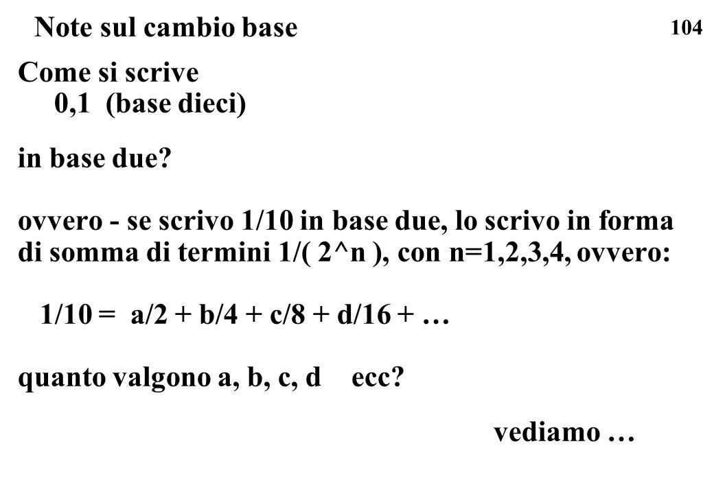 104 Note sul cambio base Come si scrive 0,1 (base dieci) in base due? ovvero - se scrivo 1/10 in base due, lo scrivo in forma di somma di termini 1/(