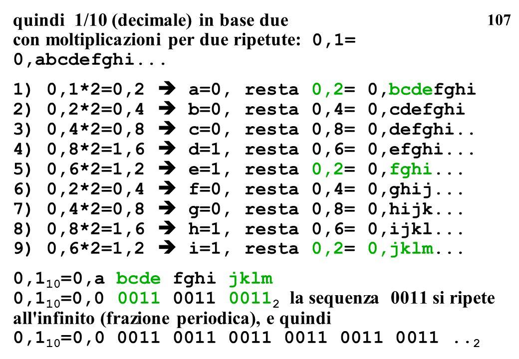107 quindi 1/10 (decimale) in base due con moltiplicazioni per due ripetute: 0,1= 0,abcdefghi... 1) 0,1*2=0,2 a=0, resta 0,2= 0,bcdefghi 2) 0,2*2=0,4