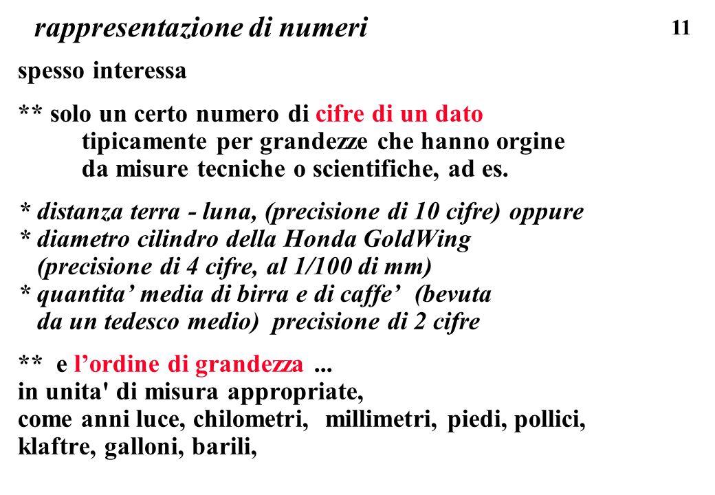 11 rappresentazione di numeri spesso interessa ** solo un certo numero di cifre di un dato tipicamente per grandezze che hanno orgine da misure tecnic