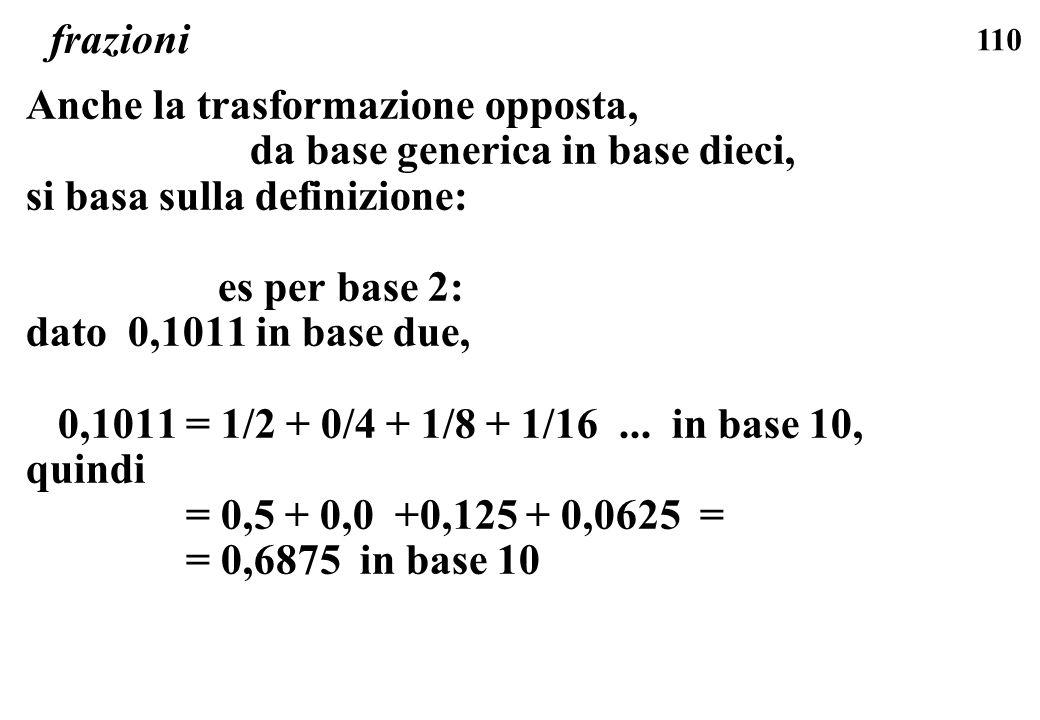 110 frazioni Anche la trasformazione opposta, da base generica in base dieci, si basa sulla definizione: es per base 2: dato 0,1011 in base due, 0,101