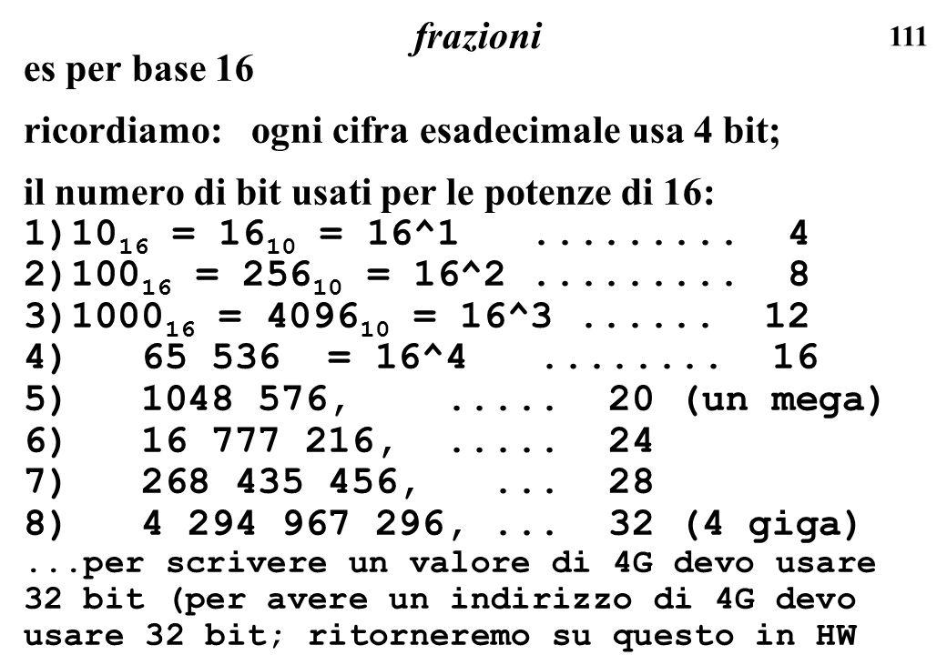 111 frazioni es per base 16 ricordiamo: ogni cifra esadecimale usa 4 bit; il numero di bit usati per le potenze di 16: 1)10 16 = 16 10 = 16^1.........