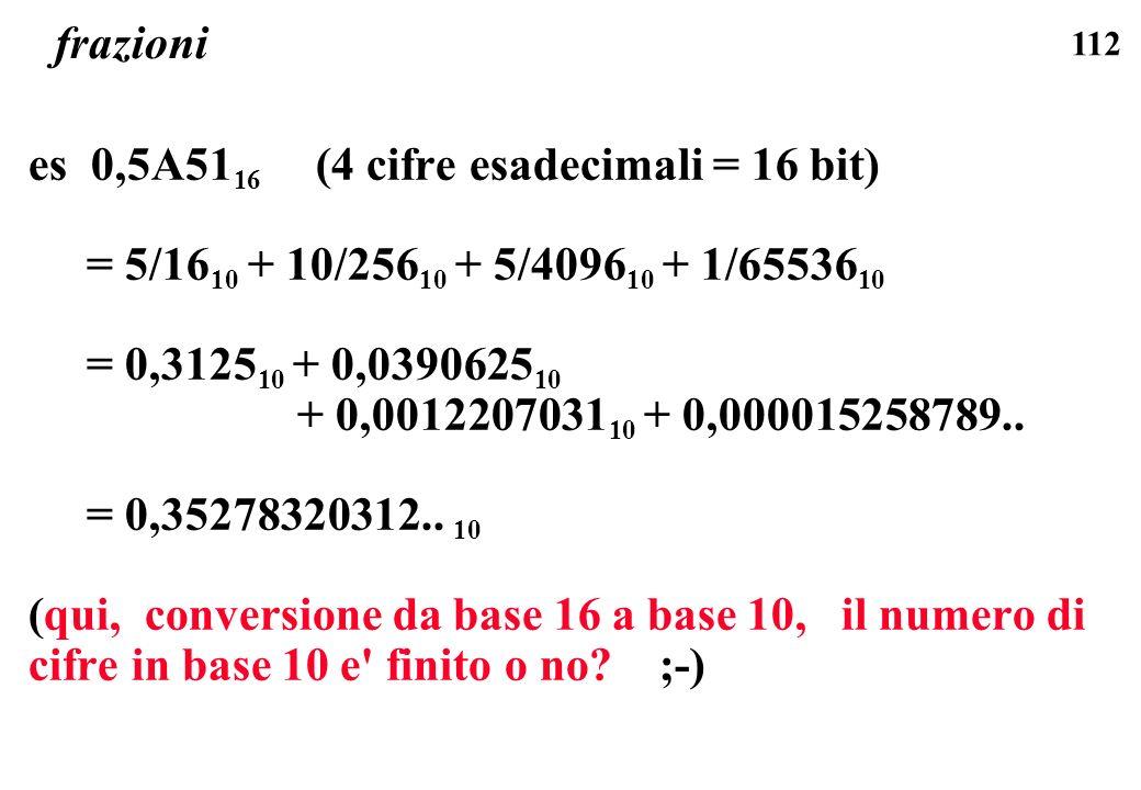 112 frazioni es 0,5A51 16 (4 cifre esadecimali = 16 bit) = 5/16 10 + 10/256 10 + 5/4096 10 + 1/65536 10 = 0,3125 10 + 0,0390625 10 + 0,0012207031 10 +