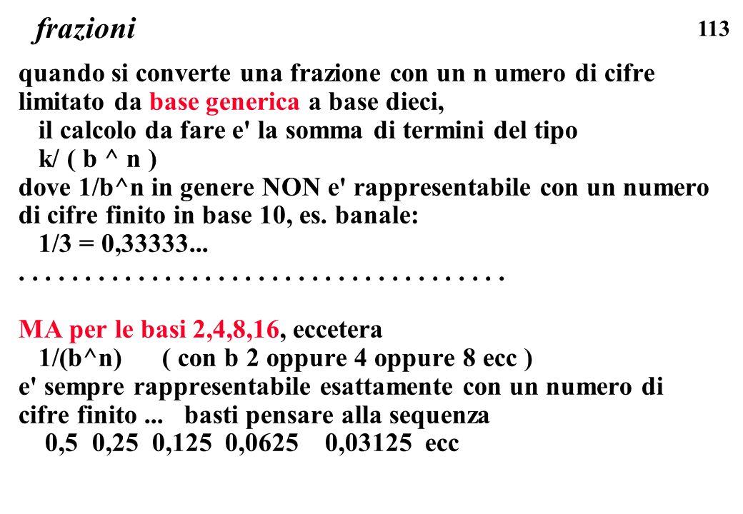 113 frazioni quando si converte una frazione con un n umero di cifre limitato da base generica a base dieci, il calcolo da fare e' la somma di termini