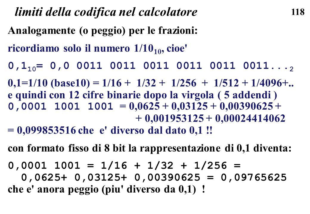 118 limiti della codifica nel calcolatore Analogamente (o peggio) per le frazioni: ricordiamo solo il numero 1/10 10, cioe' 0,1 10 = 0,0 0011 0011 001