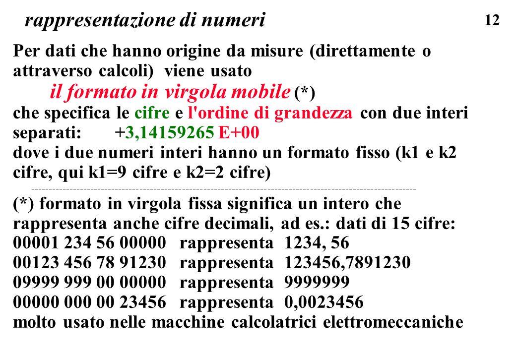 12 rappresentazione di numeri Per dati che hanno origine da misure (direttamente o attraverso calcoli) viene usato il formato in virgola mobile (*) ch