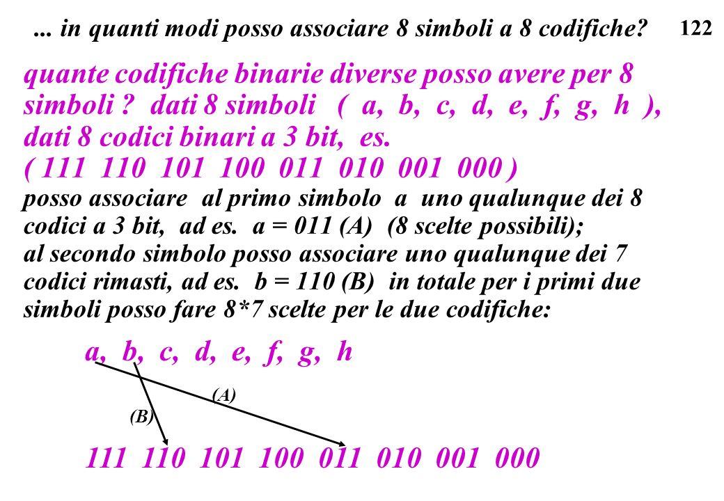 122... in quanti modi posso associare 8 simboli a 8 codifiche? quante codifiche binarie diverse posso avere per 8 simboli ? dati 8 simboli ( a, b, c,