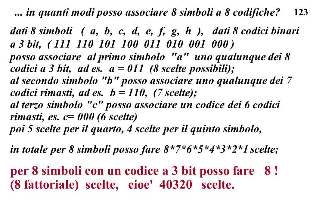 123... in quanti modi posso associare 8 simboli a 8 codifiche? dati 8 simboli ( a, b, c, d, e, f, g, h ), dati 8 codici binari a 3 bit, ( 111 110 101