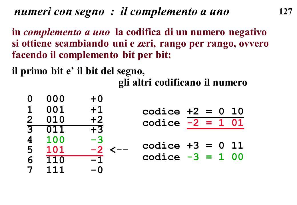 127 numeri con segno : il complemento a uno in complemento a uno la codifica di un numero negativo si ottiene scambiando uni e zeri, rango per rango,