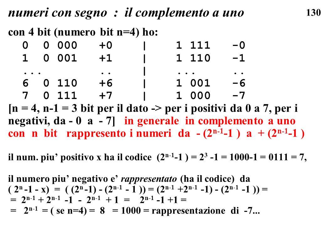 130 numeri con segno : il complemento a uno con 4 bit (numero bit n=4) ho: 0 0 000 +0 | 1 111 -0 1 0 001 +1 | 1 110 -1..... |..... 6 0 110 +6 | 1 001