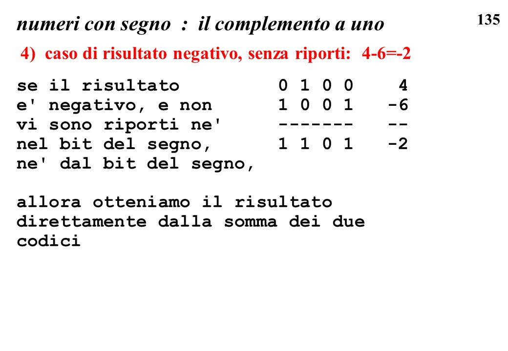 135 se il risultato 0 1 0 0 4 e' negativo, e non 1 0 0 1 -6 vi sono riporti ne' ------- -- nel bit del segno, 1 1 0 1 -2 ne' dal bit del segno, allora
