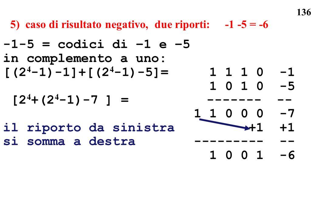 136 5) caso di risultato negativo, due riporti: -1 -5 = -6 -1-5 = codici di –1 e –5 in complemento a uno: [(2 4 -1)-1]+[(2 4 -1)-5]= 1 1 1 0 -1 1 0 1