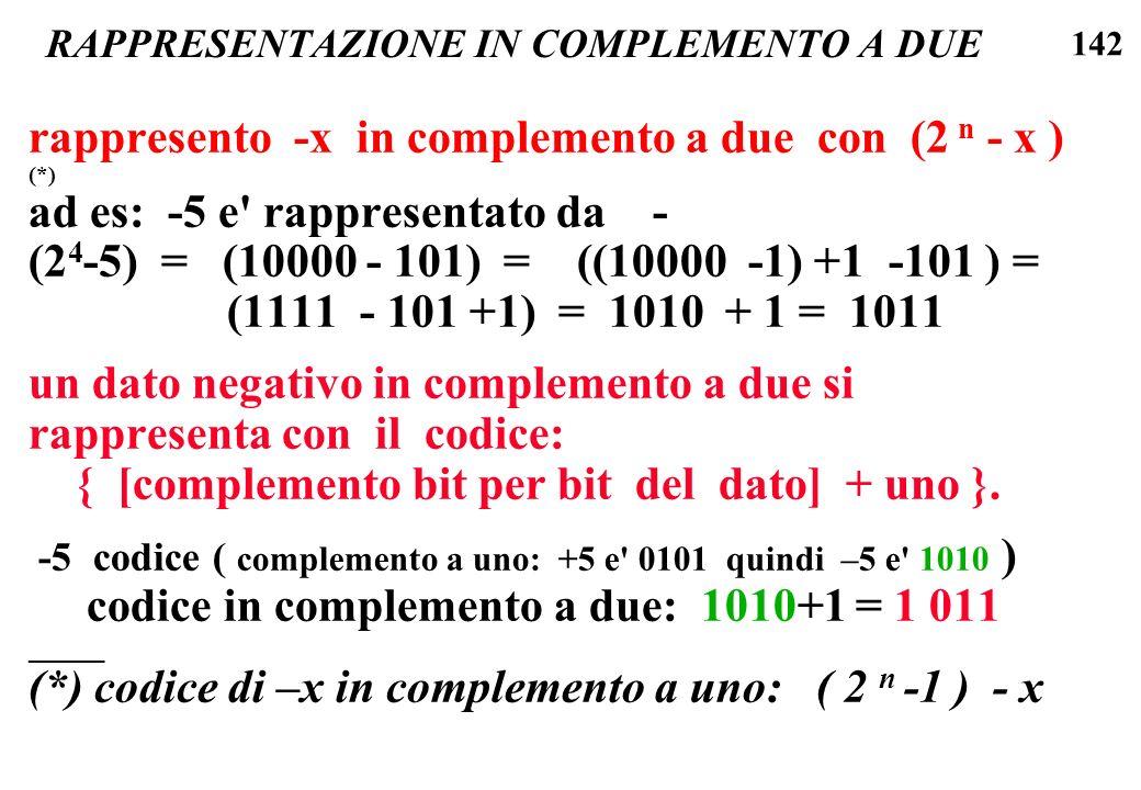 142 RAPPRESENTAZIONE IN COMPLEMENTO A DUE rappresento -x in complemento a due con (2 n - x ) (*) ad es: -5 e' rappresentato da - (2 4 -5) = (10000 - 1