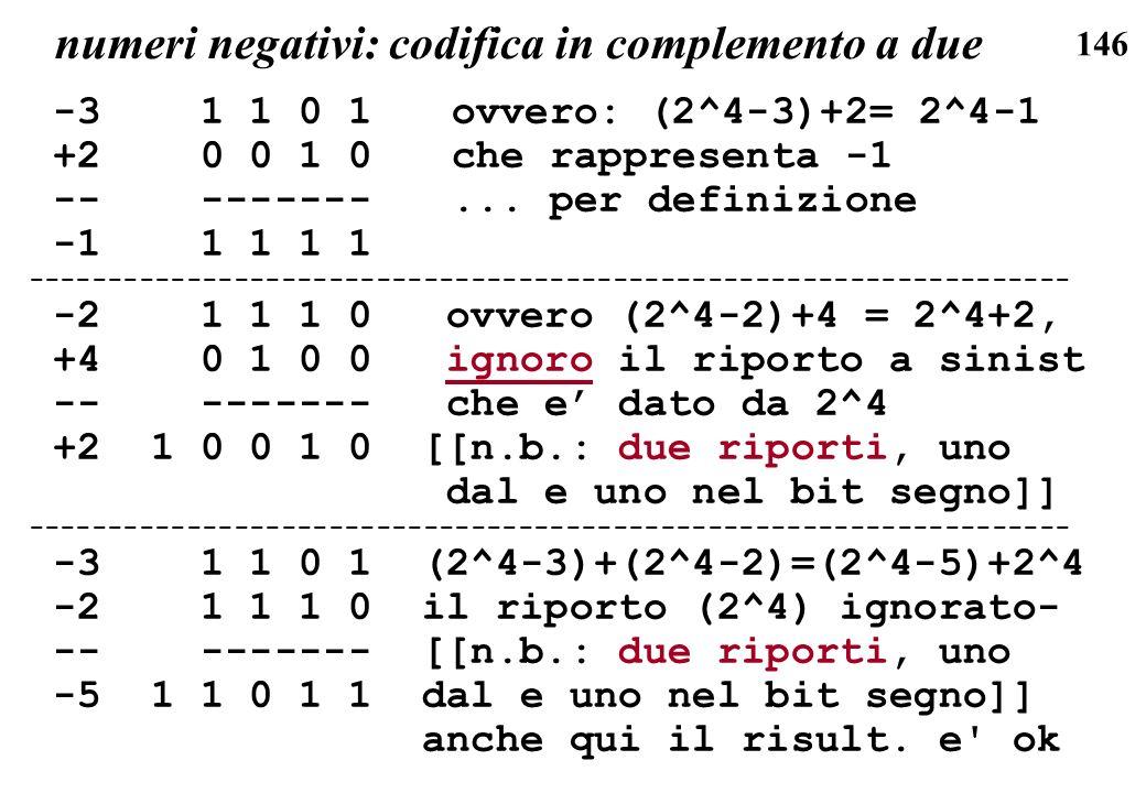146 numeri negativi: codifica in complemento a due -3 1 1 0 1ovvero: (2^4-3)+2= 2^4-1 +2 0 0 1 0che rappresenta -1 -- -------... per definizione -1 1
