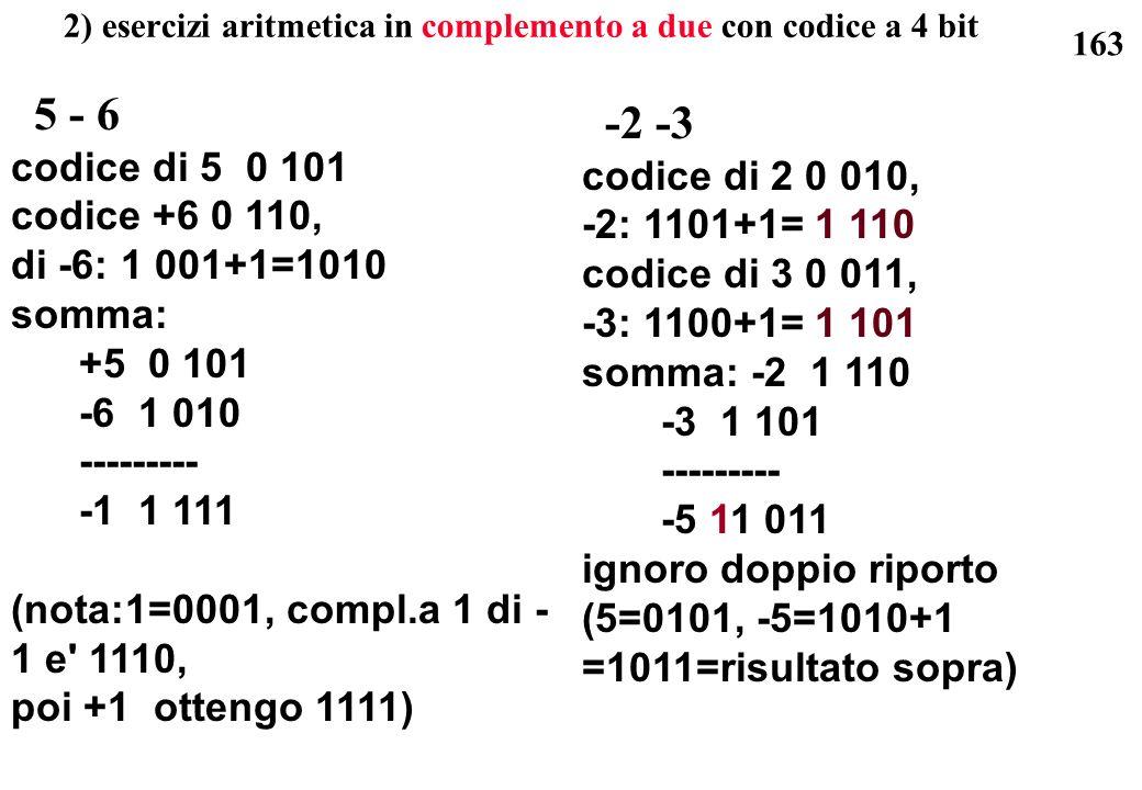 163 2) esercizi aritmetica in complemento a due con codice a 4 bit 5 - 6 codice di 5 0 101 codice +6 0 110, di -6: 1 001+1=1010 somma: +5 0 101 -6 1 0