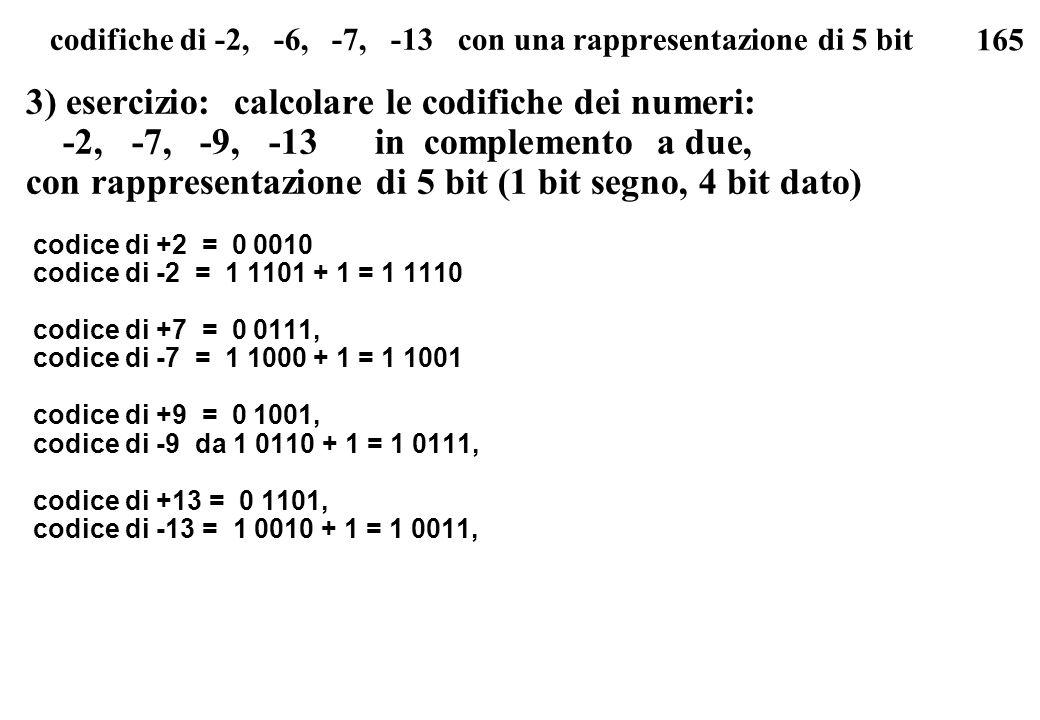 165 codifiche di -2, -6, -7, -13 con una rappresentazione di 5 bit 3) esercizio: calcolare le codifiche dei numeri: -2, -7, -9, -13 in complemento a d