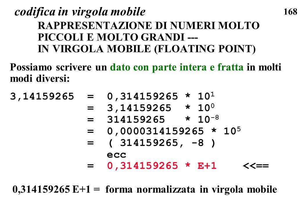 168 codifica in virgola mobile RAPPRESENTAZIONE DI NUMERI MOLTO PICCOLI E MOLTO GRANDI --- IN VIRGOLA MOBILE (FLOATING POINT) Possiamo scrivere un dat
