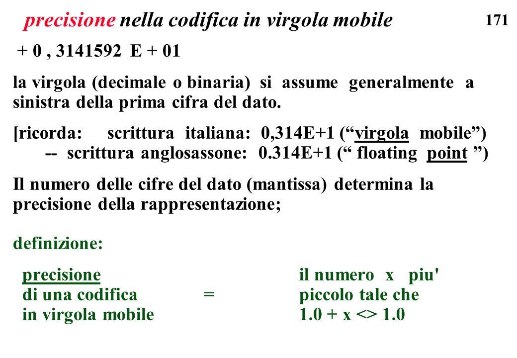 171 precisione nella codifica in virgola mobile + 0, 3141592 E + 01 la virgola (decimale o binaria) si assume generalmente a sinistra della prima cifr