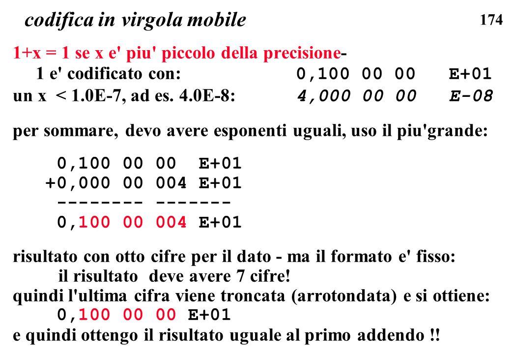 174 codifica in virgola mobile 1+x = 1 se x e' piu' piccolo della precisione- 1 e' codificato con: 0,100 00 00 E+01 un x < 1.0E-7, ad es. 4.0E-8: 4,00