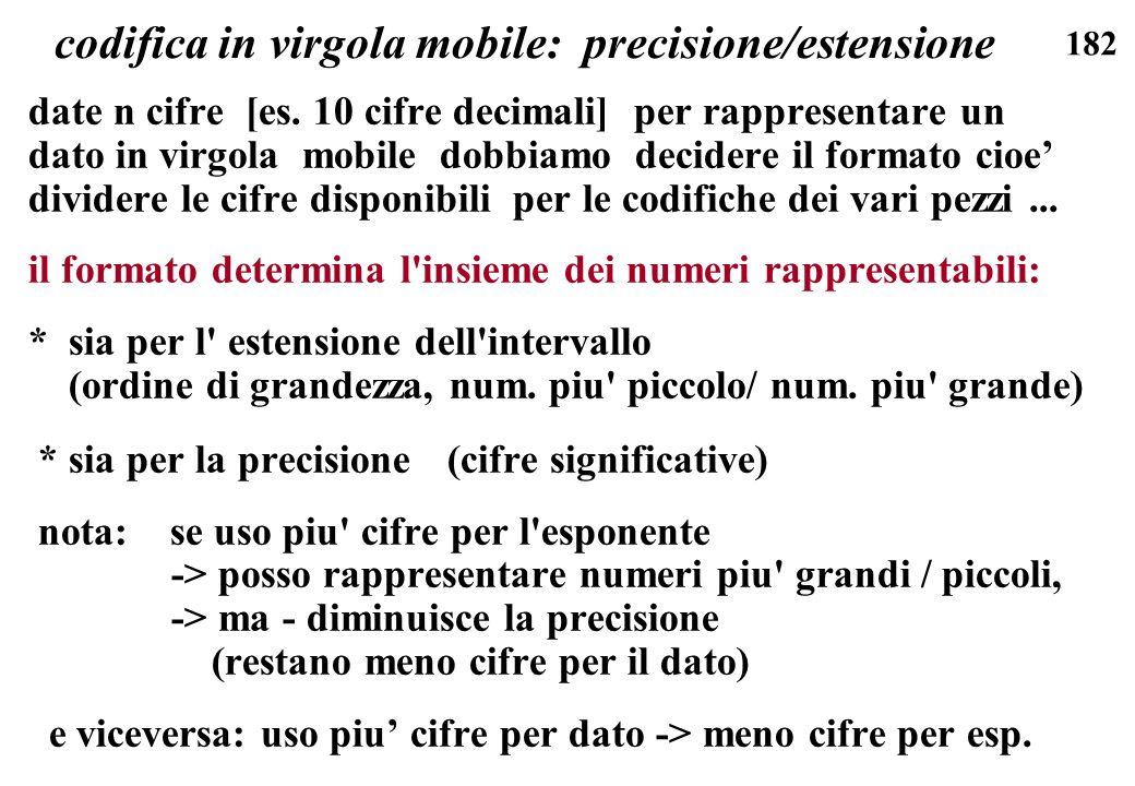 182 codifica in virgola mobile: precisione/estensione date n cifre [es. 10 cifre decimali] per rappresentare un dato in virgola mobile dobbiamo decide
