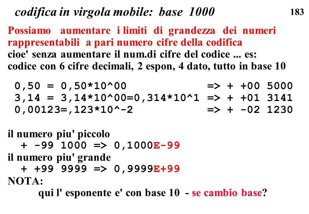 183 codifica in virgola mobile: base 1000 Possiamo aumentare i limiti di grandezza dei numeri rappresentabili a pari numero cifre della codifica cioe'