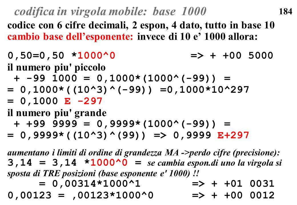184 codifica in virgola mobile: base 1000 codice con 6 cifre decimali, 2 espon, 4 dato, tutto in base 10 cambio base dellesponente: invece di 10 e 100
