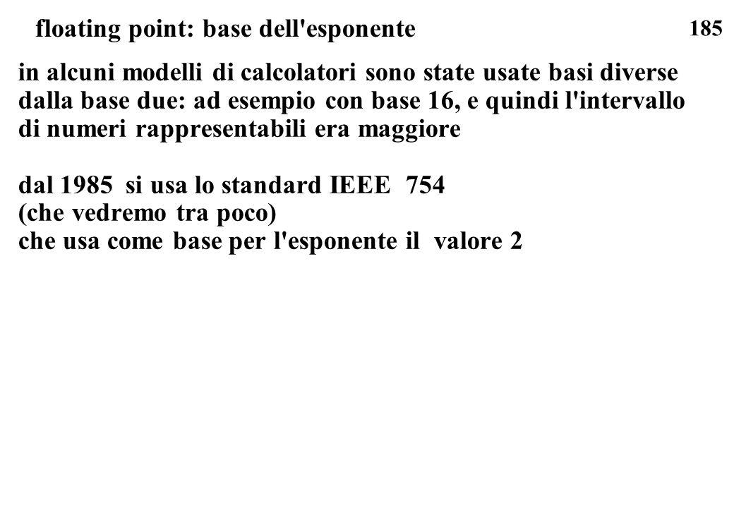 185 floating point: base dell'esponente in alcuni modelli di calcolatori sono state usate basi diverse dalla base due: ad esempio con base 16, e quind