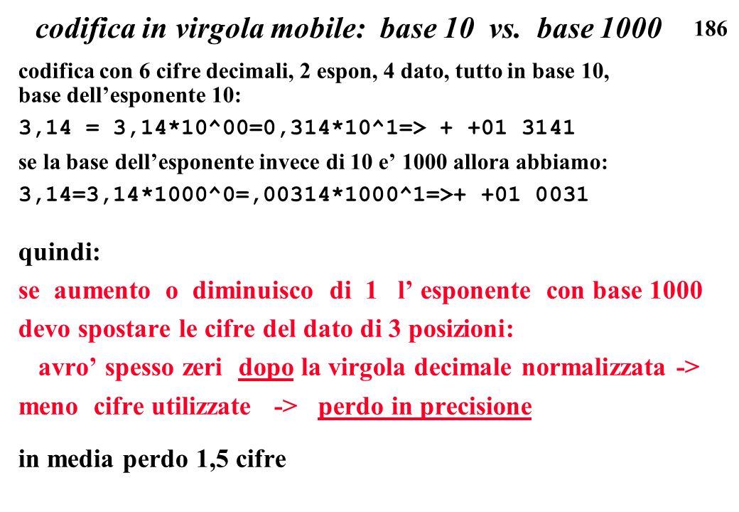 186 codifica in virgola mobile: base 10 vs. base 1000 codifica con 6 cifre decimali, 2 espon, 4 dato, tutto in base 10, base dellesponente 10: 3,14 =