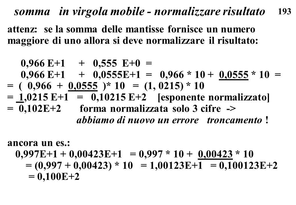 193 somma in virgola mobile - normalizzare risultato attenz: se la somma delle mantisse fornisce un numero maggiore di uno allora si deve normalizzare