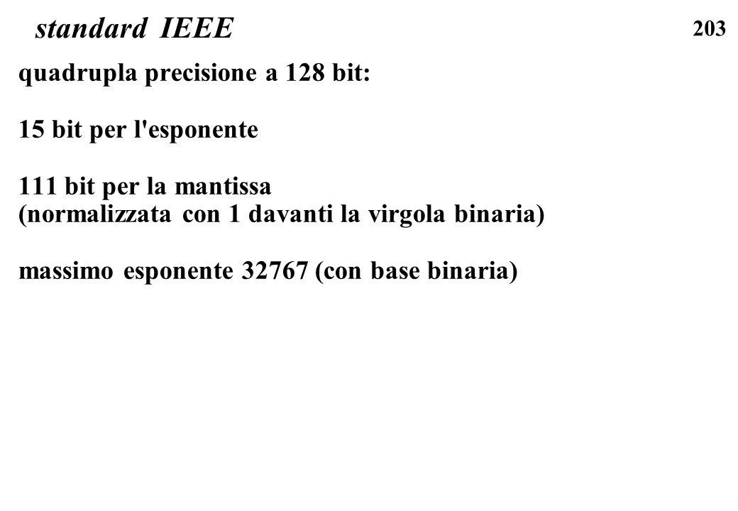 203 standard IEEE quadrupla precisione a 128 bit: 15 bit per l'esponente 111 bit per la mantissa (normalizzata con 1 davanti la virgola binaria) massi