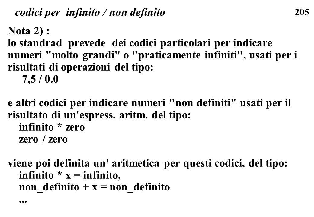 205 codici per infinito / non definito Nota 2) : lo standrad prevede dei codici particolari per indicare numeri