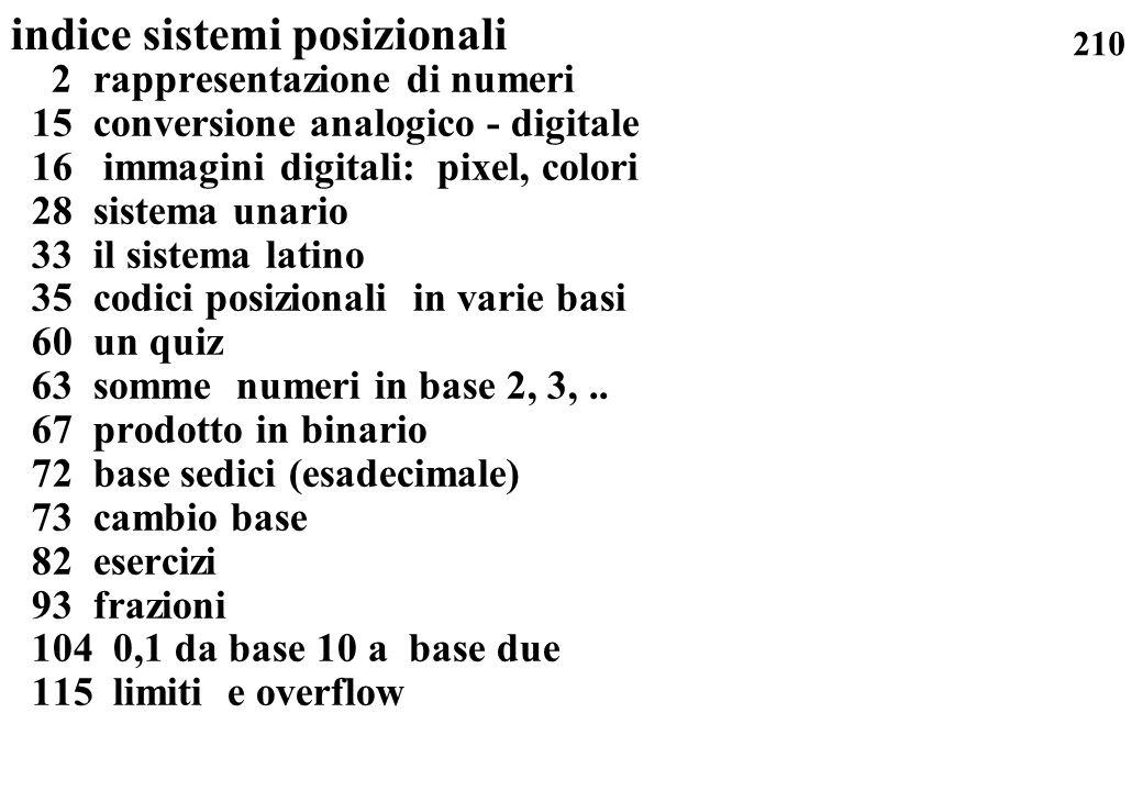 210 indice sistemi posizionali 2 rappresentazione di numeri 15 conversione analogico - digitale 16 immagini digitali: pixel, colori 28 sistema unario