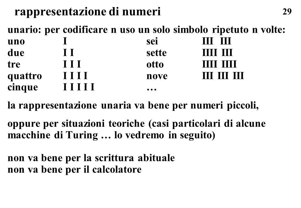29 rappresentazione di numeri unario: per codificare n uso un solo simbolo ripetuto n volte: uno IseiIII III dueI IsetteIIII III treI I IottoIIII IIII