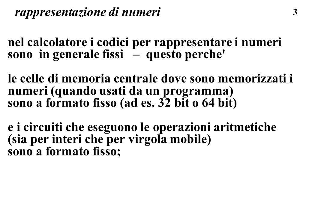 184 codifica in virgola mobile: base 1000 codice con 6 cifre decimali, 2 espon, 4 dato, tutto in base 10 cambio base dellesponente: invece di 10 e 1000 allora: 0,50=0,50 *1000^0 => + +00 5000 il numero piu piccolo + -99 1000 = 0,1000*(1000^(-99)) = = 0,1000*((10^3)^(-99)) =0,1000*10^297 = 0,1000 E -297 il numero piu grande + +99 9999 = 0,9999*(1000^(-99)) = = 0,9999*((10^3)^(99)) => 0,9999 E+297 aumentano i limiti di ordine di grandezza MA ->perdo cifre (precisione): 3,14 = 3,14 *1000^0 = se cambia espon.di uno la virgola si sposta di TRE posizioni (base esponente e 1000) !.