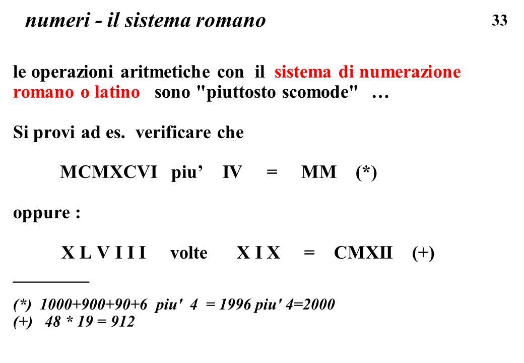 33 numeri - il sistema romano le operazioni aritmetiche con il sistema di numerazione romano o latino sono