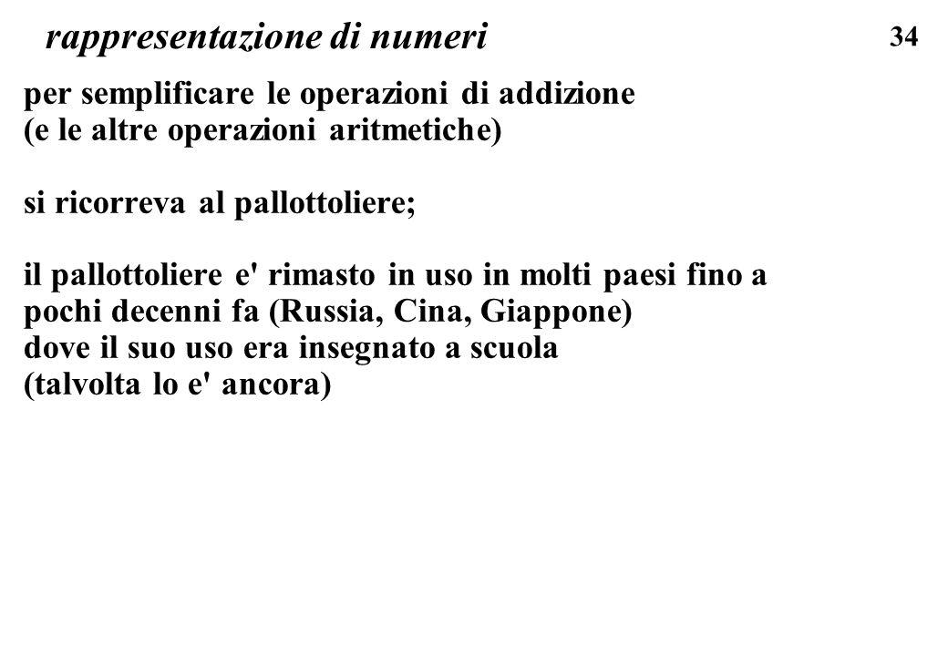 34 rappresentazione di numeri per semplificare le operazioni di addizione (e le altre operazioni aritmetiche) si ricorreva al pallottoliere; il pallot
