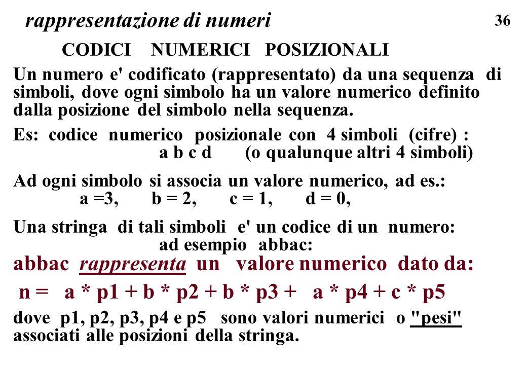 36 rappresentazione di numeri CODICI NUMERICI POSIZIONALI Un numero e' codificato (rappresentato) da una sequenza di simboli, dove ogni simbolo ha un