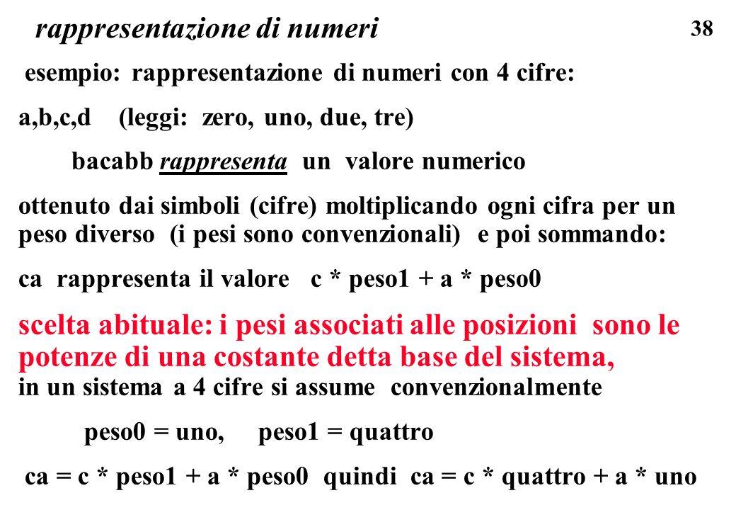 38 rappresentazione di numeri esempio: rappresentazione di numeri con 4 cifre: a,b,c,d (leggi: zero, uno, due, tre) bacabb rappresenta un valore numer
