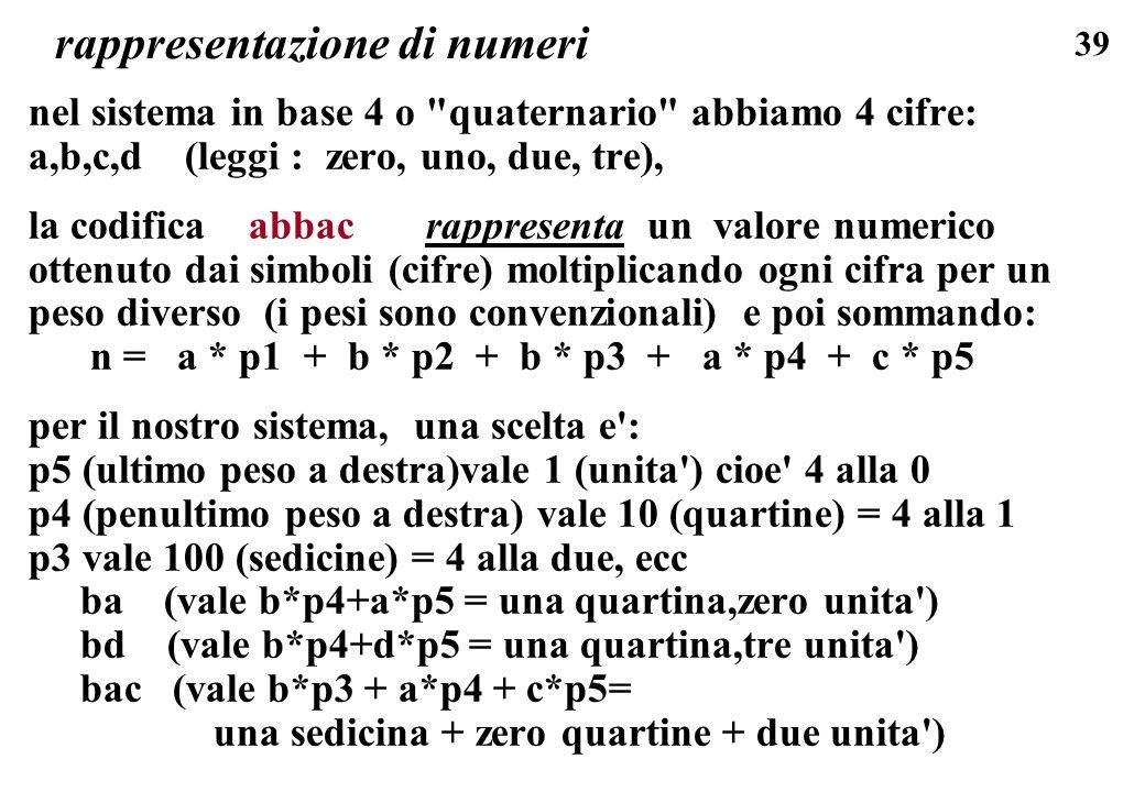 39 rappresentazione di numeri nel sistema in base 4 o
