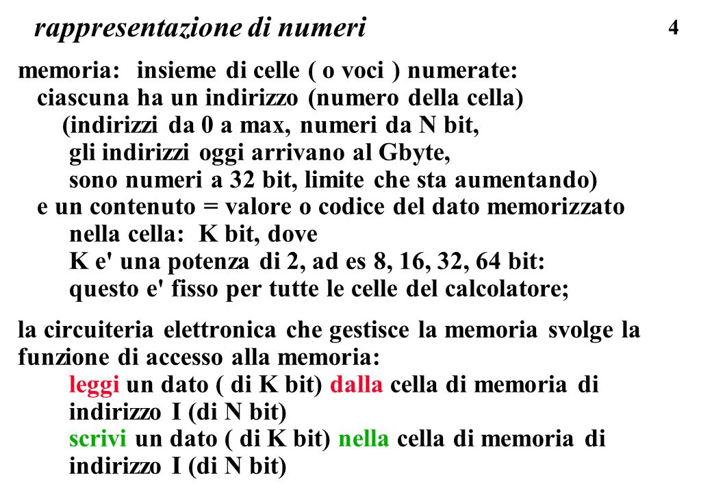 35 rappresentazione di numeri CODICI NUMERICI POSIZIONALI Un numero e codificato (rappresentato) da una sequenza di simboli, dove ogni simbolo ha un valore numerico definito dalla posizione del simbolo nella sequenza: 1984 rappresenta un valore dato dalla somma di 1 migliaia 9 centinaia 8 decine 4 unita 1984 rappresenta 1000 * 1 + 100 * 9 + 10 * 8 + 1