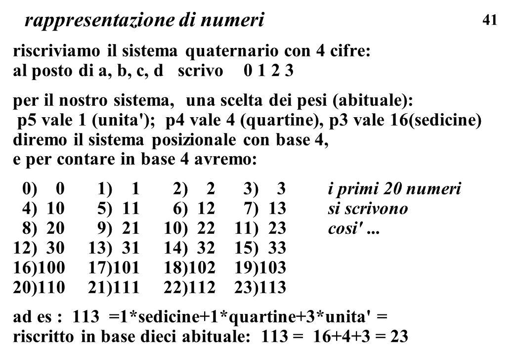 41 rappresentazione di numeri riscriviamo il sistema quaternario con 4 cifre: al posto di a, b, c, d scrivo 0 1 2 3 per il nostro sistema, una scelta