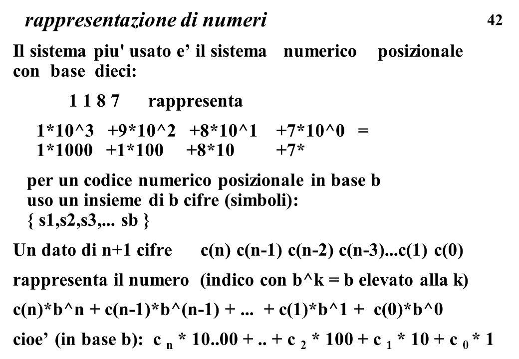 42 rappresentazione di numeri Il sistema piu' usato e il sistema numerico posizionale con base dieci: 1 1 8 7 rappresenta 1*10^3 +9*10^2 +8*10^1 +7*10