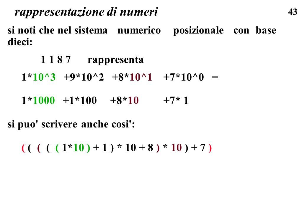 43 rappresentazione di numeri si noti che nel sistema numerico posizionale con base dieci: 1 1 8 7 rappresenta 1*10^3 +9*10^2 +8*10^1 +7*10^0 = 1*1000