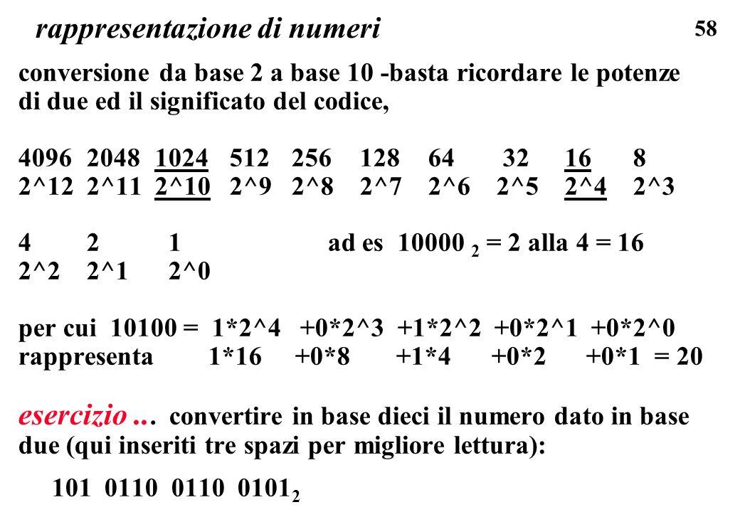 58 rappresentazione di numeri conversione da base 2 a base 10 -basta ricordare le potenze di due ed il significato del codice, 4096 2048 1024 512 256