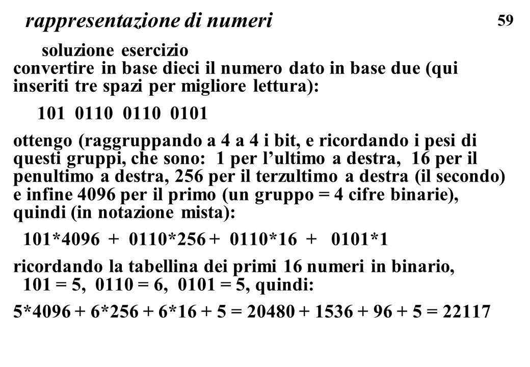59 rappresentazione di numeri soluzione esercizio convertire in base dieci il numero dato in base due (qui inseriti tre spazi per migliore lettura): 1