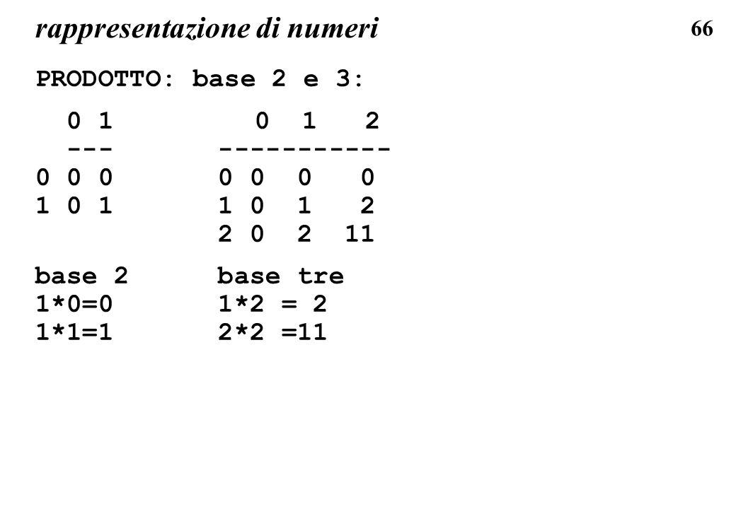 66 rappresentazione di numeri PRODOTTO: base 2 e 3: 0 1 0 1 2 --- ----------- 0 0 0 0 0 0 0 1 0 1 1 0 1 2 2 0 2 11 base 2 base tre 1*0=0 1*2 = 2 1*1=1